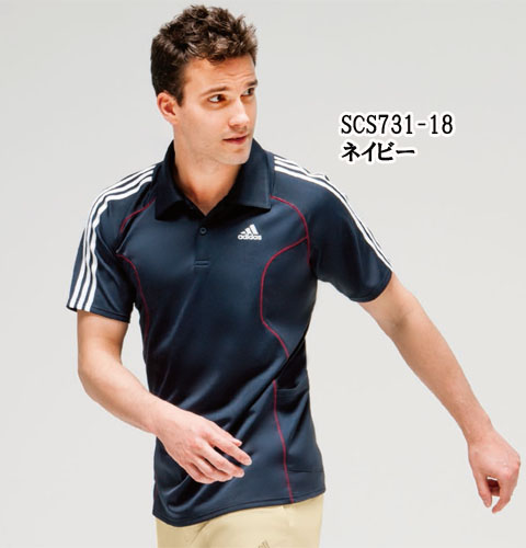 SCS731 アディダス adidas ポロシャツ(KAZEN) 男女兼用 半袖 [介護 ケアウェア ポロシャツ  シャツ ユニフォーム 男女兼用 ホワイト ネイビー]