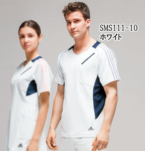 SMS111 adidas アディダス スクラブ(男女兼用)(KAZEN)[白衣 ドクター 医師 ナースウェア 看護師 介護 男性用 女性用 病院 医院 ホワイト サックス グレー ネイビー]