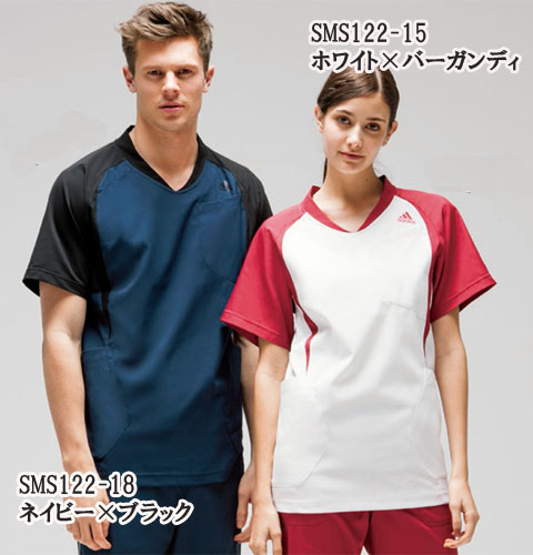 SMS122 adidas アディダス スクラブ(男女兼用)(KAZEN)[白衣 ドクター 医師 ナースウェア 看護師 介護 男性用 女性用 病院 医院 ホワイト ブラック バーガンディ ネイビー]