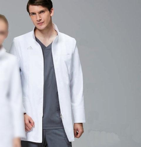 SMS202 adidas アディダス メンズドクターハーフコート(KAZEN)[スタンドカラー ダブルジップ 診察衣 白衣 ドクター 医師 ナースウェア 看護師 介護 男性用 病院 医院 ホワイト]