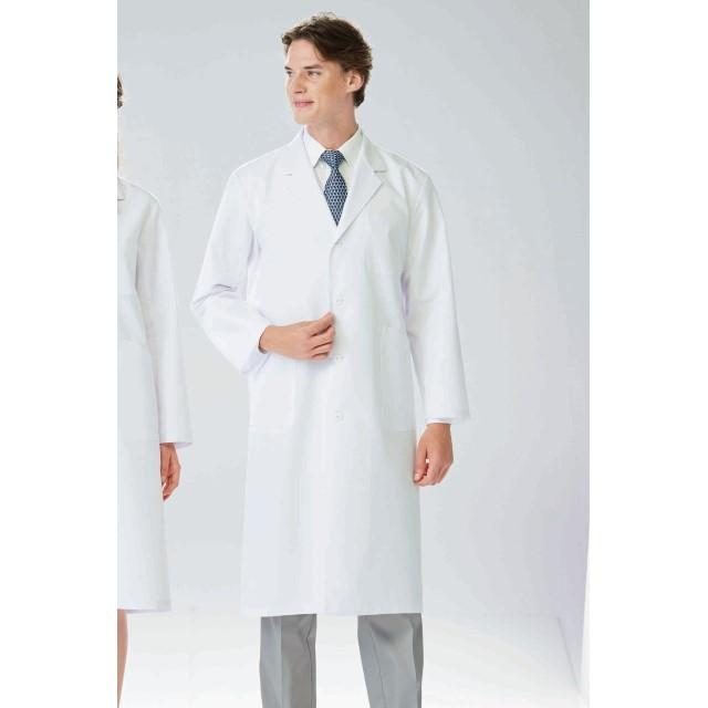 TAP65 ナガイレーベン 診察衣 シングルボタン 男性用 長袖 制菌加工 形態安定性 業務用洗濯可 左胸ポケット NAGAILEBEN 医療用 ドクター 医師 医者 薬局衣 薬剤師 ドクターウェア メンズ 男子 ドクターコート 白衣 ホワイト 白