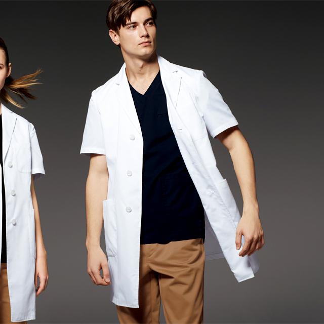 UN-0099 unite ユナイト ドクターウェア 診察衣 ドクターコート 半袖 男性用 メンズ 医療用 涼しい 通気性 研究 実験 薬局 医師 ドクター 薬剤師