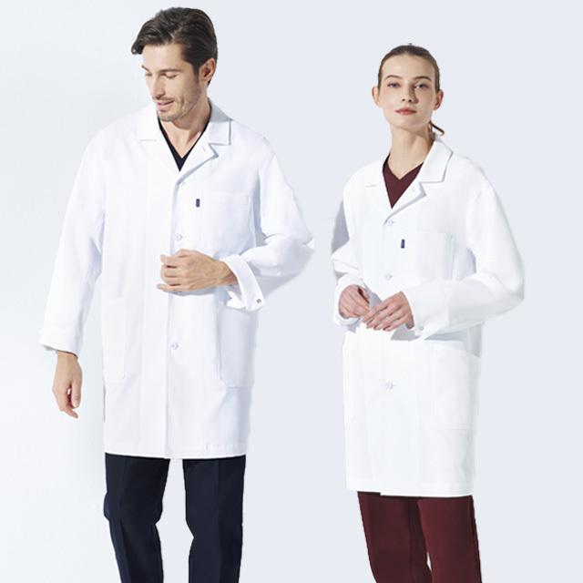 UN-0100 ユナイト ドクターコート 診察衣 シングルボタン 男性用 メンズ 長袖 カジュアル 軽い 透けにくい 抗菌 防臭 制電 胸ポケット チトセ CHITOSE unite 医療用 医者 医師 ドクター 薬剤師  男子 白衣 ジャケット ホワイト 白