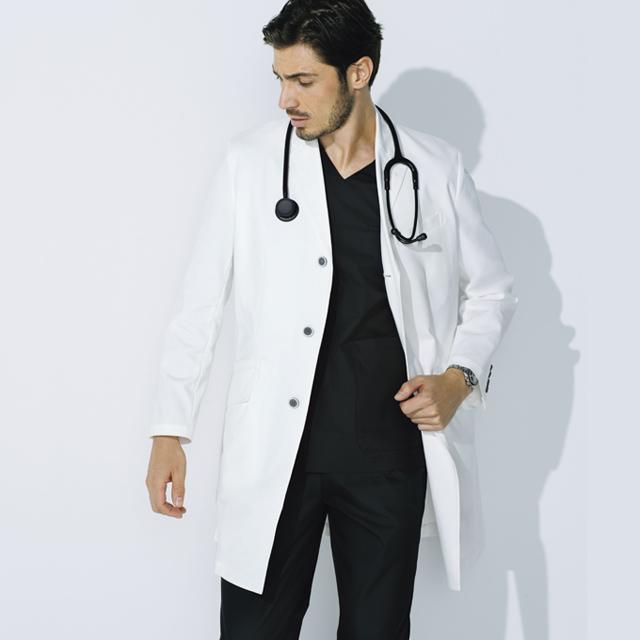 UN-0080 unite ユナイト ドクターコート 長袖 男性用 (白衣 診察衣 シングル ストレッチ 制菌 メンズ)