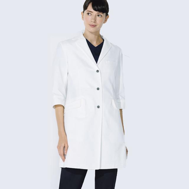 UN-0081 unite ユナイト ドクターコート 七分袖 女性用 (動きやすい ストレッチ 制菌 レディース白衣 診察衣 シングル)