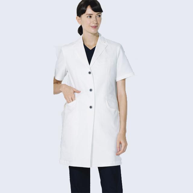 UN-0082 unite ユナイト ドクターコート 半袖 女性用 (動きやすい ストレッチ 制菌 レディース白衣 診察衣 シングル)