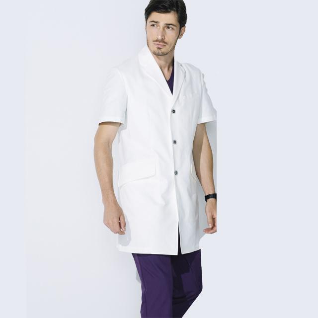 UN-0083 unite ユナイト ドクターコート 半袖 男性用 (白衣 診察衣 シングル ストレッチ 制菌 メンズ)