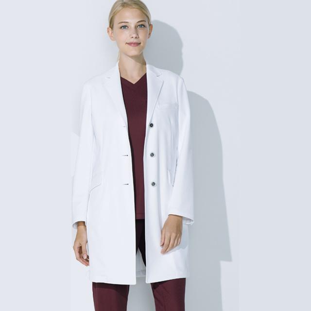 UN-0084 unite ユナイト ドクターコート 長袖 女性用 (しわになりにくい 動きやすい 耐久性 白衣 診察衣 シングル ストレッチ レディース)