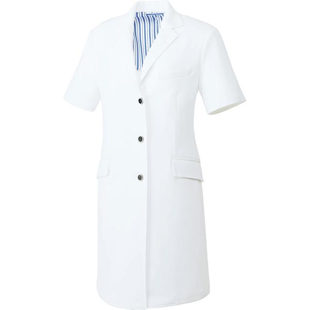 UN-0086 unite ユナイト ドクターコート 半袖 女性用(しわになりにくい 動きやすい 耐久性 白衣 診察衣 シングル ストレッチ レディース)