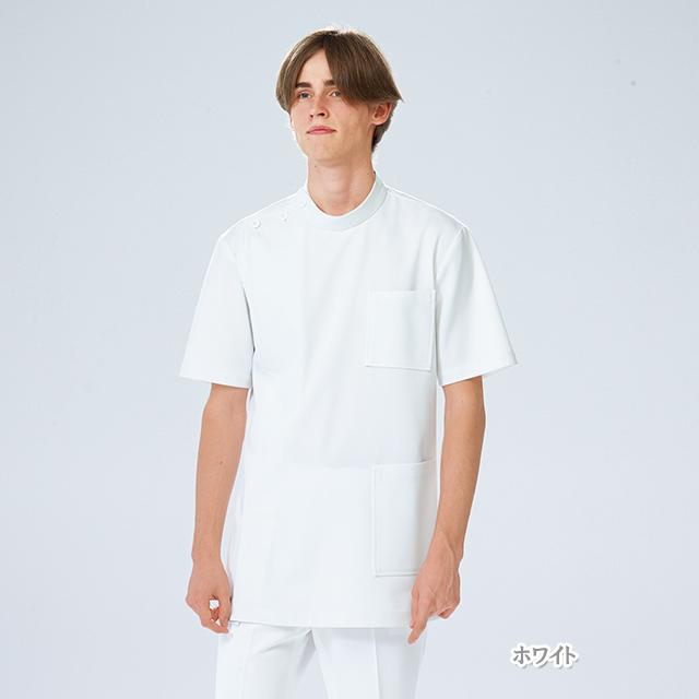 US82 ナガイレーベン ドクターウェア 男子 横掛 半袖 男性用 医療用 ケーシー 白衣 ジャケット 医務衣 医師 ドクター 薬剤師 整体師 看護師 ナース ホワイト 白