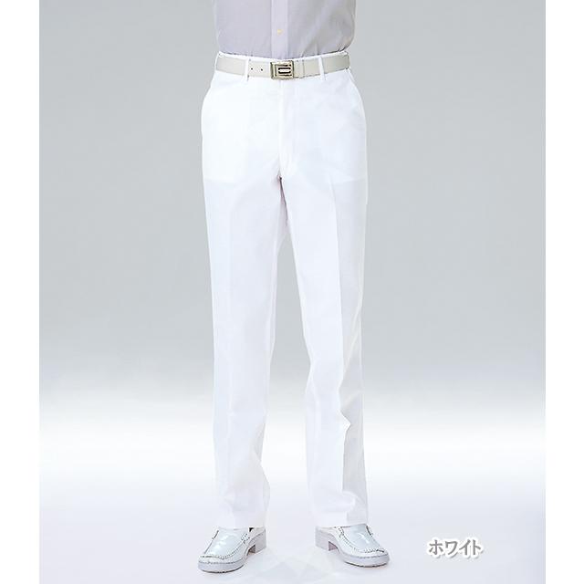 USA90 ナガイレーベン ナースウェア パンツ 男性用 ストレート ノータック 前ファスナー センタープレス ポケット付き 伸縮性 吸水 防汚 制菌加工 業務用洗濯可 NAGAILEBEN 医療用 看護師 メンズ 男子 ズボン スラックス ホワイト 白