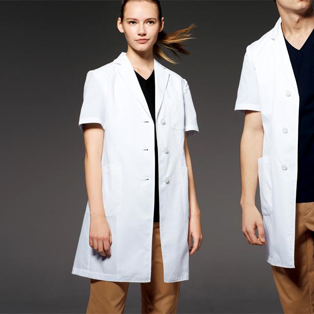 UN-0098 unite ユナイト ドクターウェア 診察衣 ドクターコート 半袖 女性用 レディス 医療用 通気性 涼しい 研究 実験 薬局 医師 ドクター 薬剤師