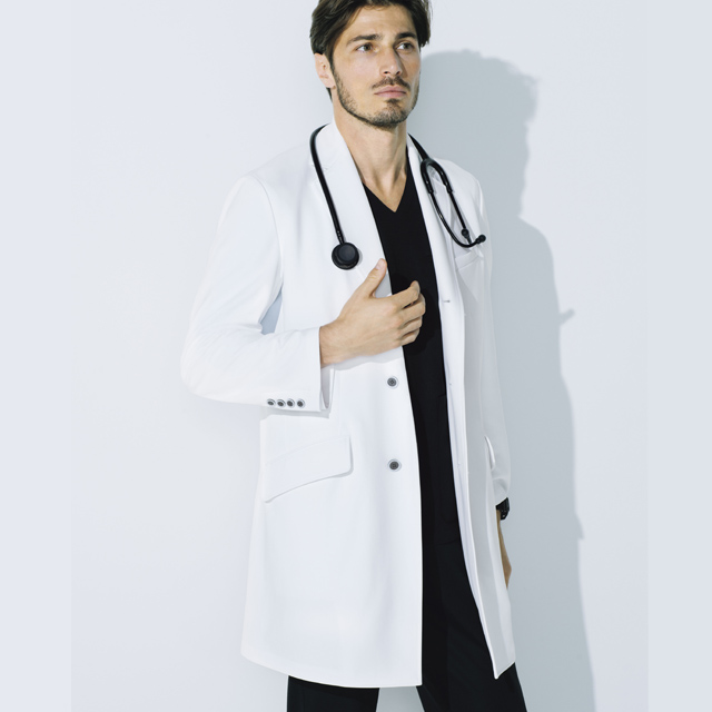 UN-0085 unite ユナイト ドクターコート 長袖 男性用 (しわになりにくい 動きやすい 耐久性 白衣 診察衣 シングル ストレッチ メンズ)
