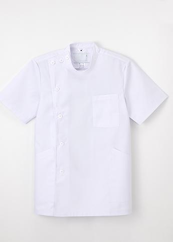 【ナガイレーベン】EP167 男子横掛半袖 ホワイト(織物・ボタンタイプ)【シルエット:きつめ】