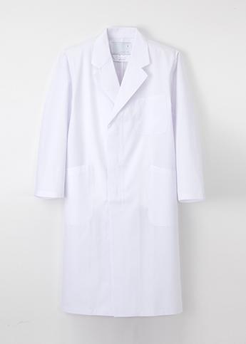 KEX-5110 男子シングル診察衣 (ロング丈・シングル・長袖)【ナガイレーベン】