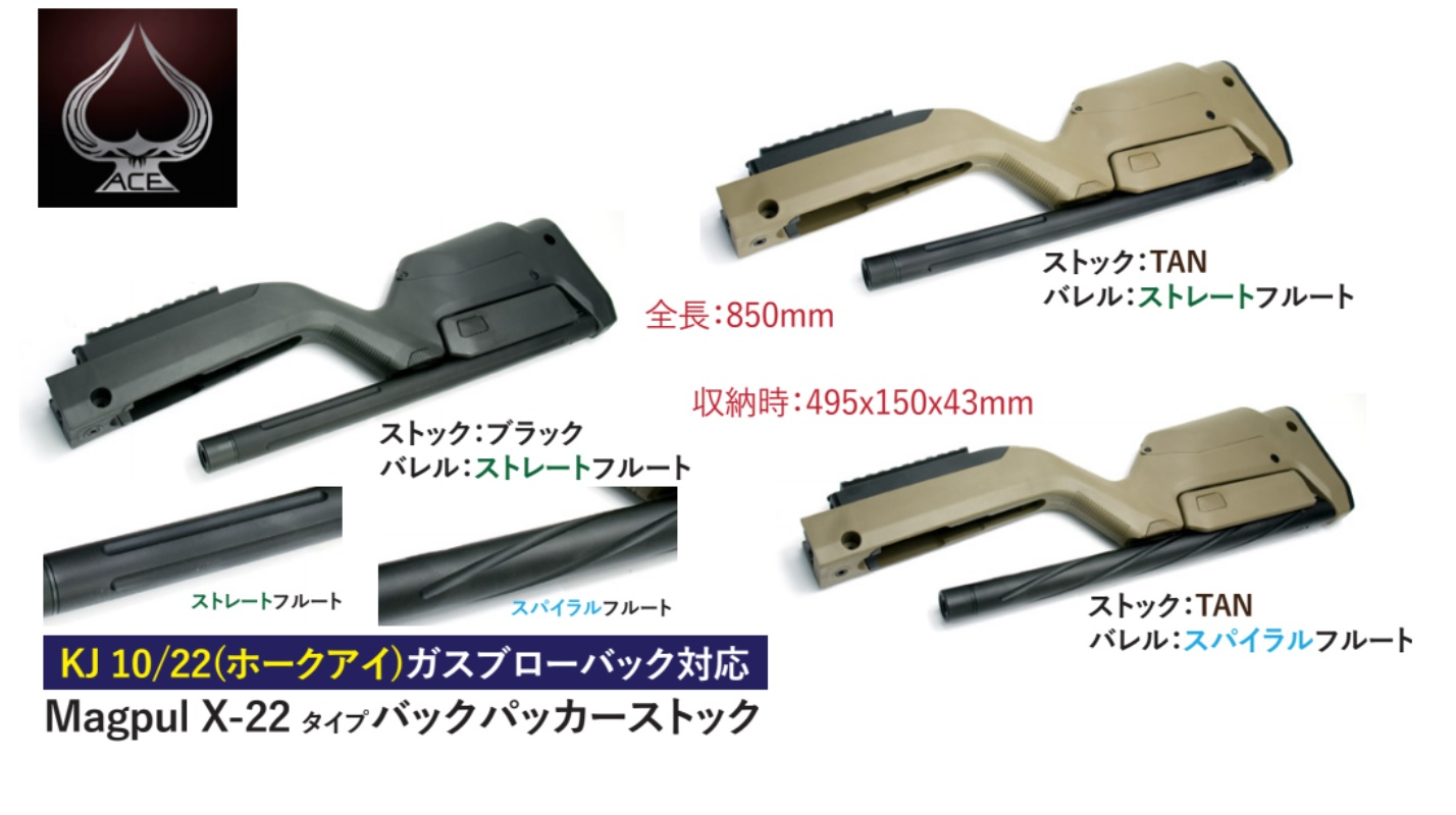 Ace1 arms KJ 10/22用Magpul X-22 バックパッカーストック