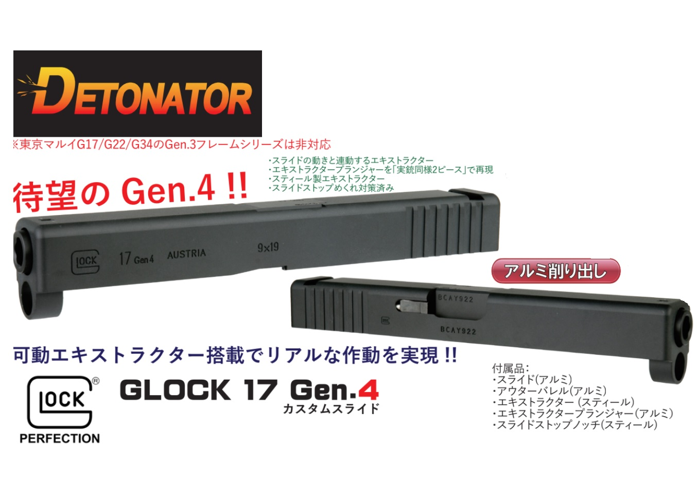 Detonator マルイG17 Gen.4用Glock 17 Gen.4 スライドセット -BK