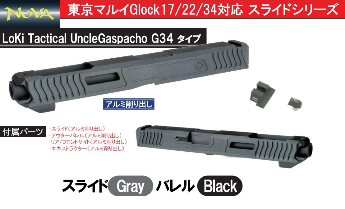 NOVA マルイGlock用LOKI Uncle Gaspacho G34 スライド -グレー