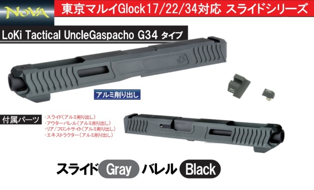 NOVA マルイGlock用LOKI Uncle Gaspacho G34 スライド -グレー