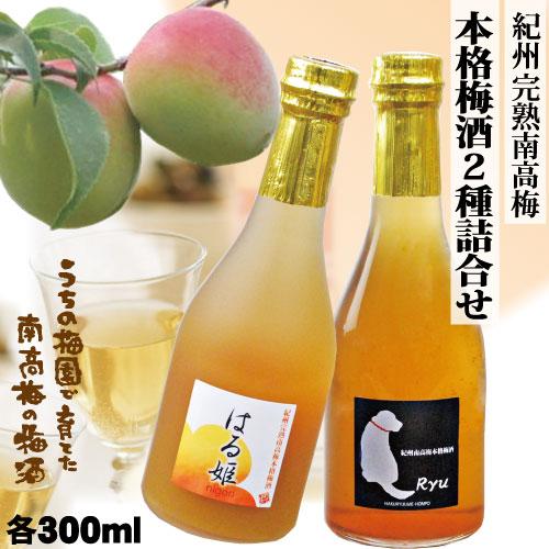 【送料無料】本格梅酒「Ryu」 300mlアルコール12% にごり梅酒「はる姫」 300ml アルコール11% 各1本ペアセット GI「和歌山梅酒」認定