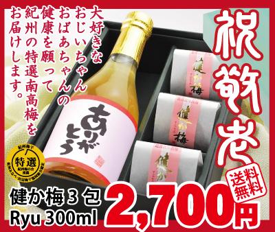 【送料無料】一粒包 健か梅3包と完熟南高梅本格梅酒Ryu300mlのセット♪ 和歌山 みなべ産 梅干し 梅酒 うめぼし 敬老