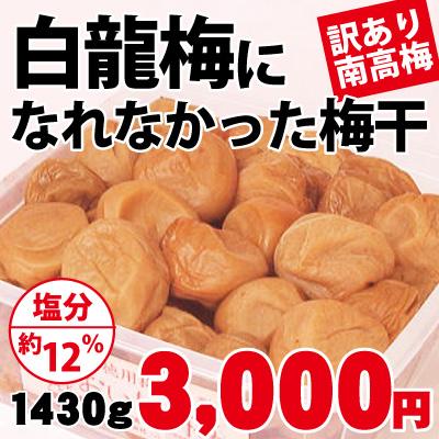 【創業祭限定】【訳あり南高梅】白龍梅になれなかった梅 塩分約12% 1430g