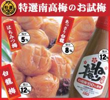 【送料無料】【紀州産南高梅】お試し梅干し  はちみつ梅3品 + 白龍ねり梅 120g