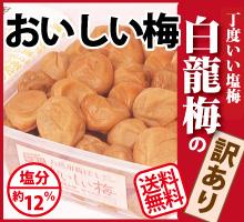 【送料無料・訳あり南高梅】おいしい梅(白龍梅の訳あり梅)塩分約12%『800g』