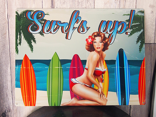 ブリキ看板 Surf's up !
