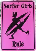 スチール看板 Surfer Girls Rule L ピンク