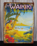 ブリキ看板 Greetings from Waikiki  Visit Honolulu