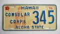ヴィテージ・ライセンスプレート ハワイ1976〜1980 CONSULAR CORPS 345