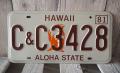 ヴィテージ・ライセンスプレート ハワイ1981~1995 C&C 3428