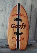 Hama Kena 置型サーフボードウッドサイン  Waikiki Goofy Club レッド
