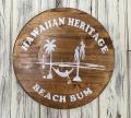 ハンドメイド ウッドサイン HAWAIIAN HERITAGE  BEACH BUM