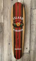 ハンドメイド サーフボード型ウッドサイン Island Paradise