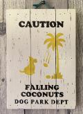 ハンドメイド ウッドサイン FALLING COCONUTUS DOG イエロー・ブラック