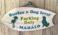 ハンドメイド ウッドサイン Parking Only Surfer & Dog lover ライトグリーン