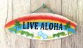 ハンドメイド ウッドサイン LIVE ALOHA  レインボー