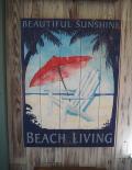木製看板 BEACH LIVING
