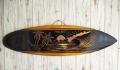 ウッドサイン サーフボードの壁掛け L SUNSET BEACH ブラック&イエローナチュラル