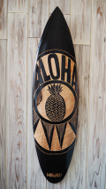 ウッドサイン サーフボードの壁掛け L ALOHAパイナップル ブラック&ナチュラル