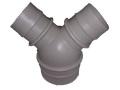 ダクト継手 樹脂製分岐Y管異径グレー(ポリエチレン製)100mmホースx150mmホース(型式 P-RY1510)