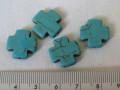 合成石 約15ミリ クロス(中) 練りターコイズ