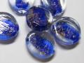 ハンドメイドガラス オーバル 約28×24mm ブルー