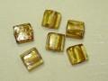 ベネチアン風ガラス 正方形 約10×5mm 黄色