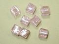 ベネチアン風ガラス キューブ 約10×10mm ピンク