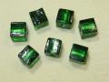 ベネチアン風ガラス キューブ 約10×10mm 深緑色