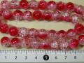 塗装クラックカラスビーズ 約10mm 赤×白色
