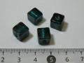 ベネチアン風ガラス キューブ 約8×8mm 深緑色(エメラルド)